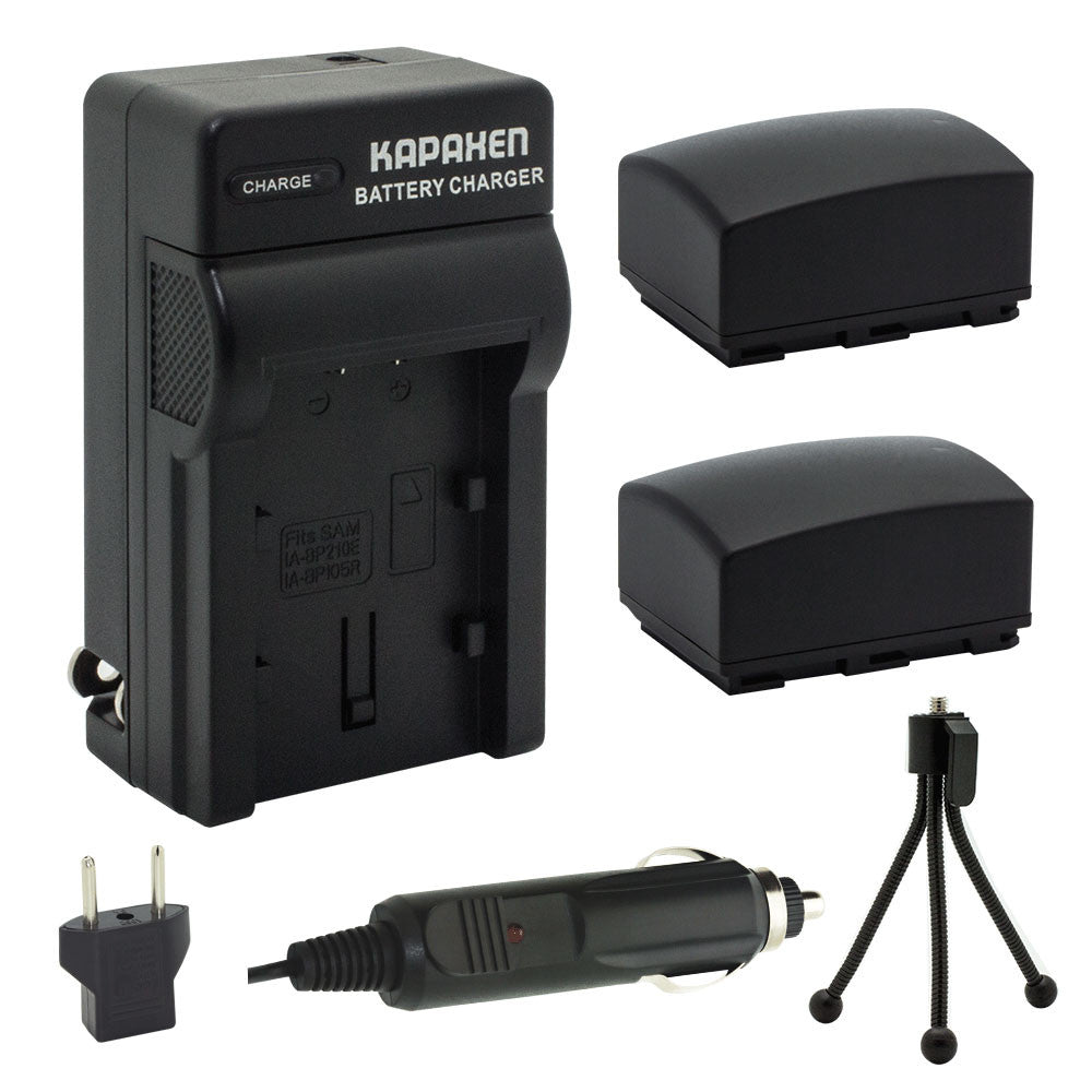 Kapaxen™ Two IA-BP105R Battery Packs, Charger Kit, and Bonus Mini Tripod for Samsung Camcorders