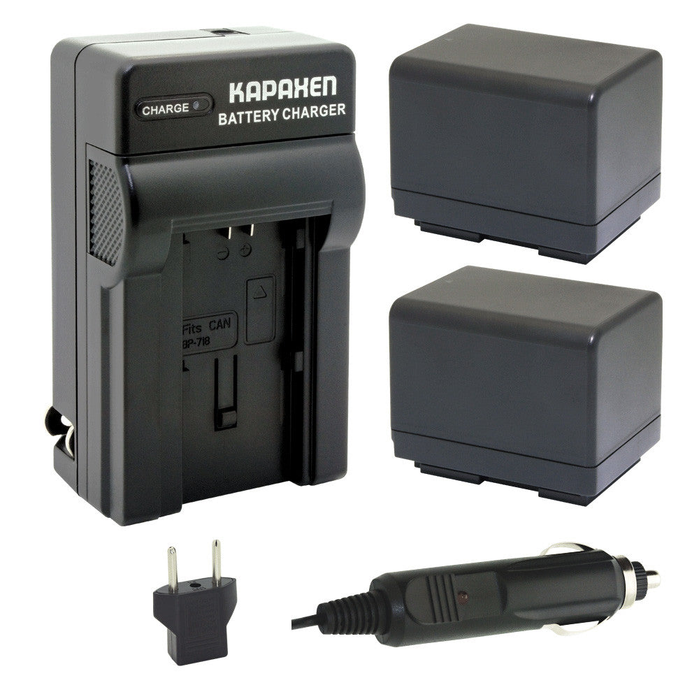 Kapaxen™ Two BP-727 Battery Packs and Charger Kit for Canon VIXIA HF Full HD Camcorders
