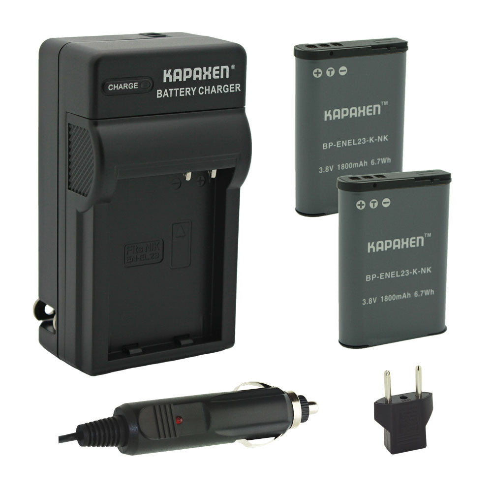 Kapaxen™ Two EN-EL23 Batteries and Charger Kit for Nikon Coolpix P600, P610, P900 and S810c Cameras