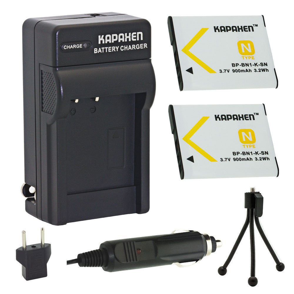 Kapaxen™ Two NP-BN1 Batteries & Charger Kit With Bonus Mini Tripod for Sony Cybershot Cameras