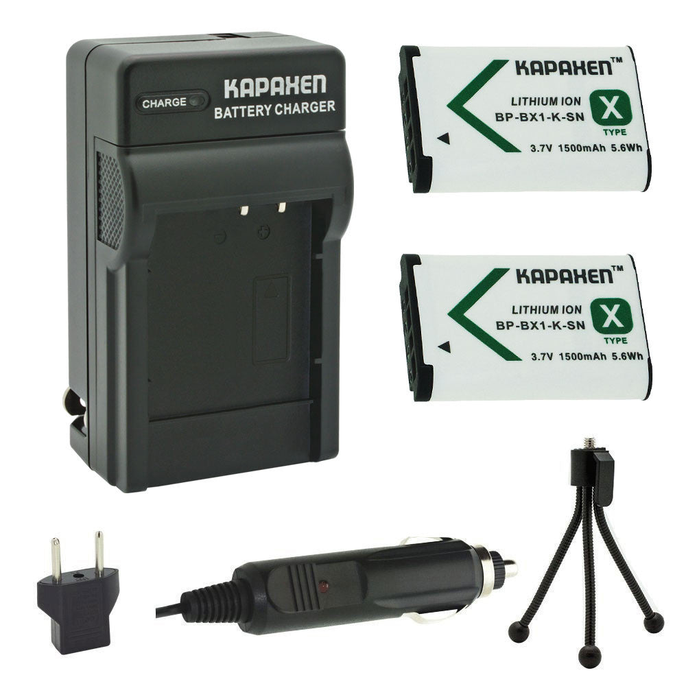 Kapaxen™ Two NP-BX1 Batteries & Charger Kit for Sony Cameras and Camcorders