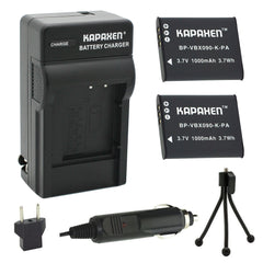 Kapaxen™ Two VW-VBX090 Batteries & Charger Kit With Bonus Mini Tripod for Panasonic HX-WA2, HX-WA3 HX-WA20 HX-WA30 HX-WA03 Camcorders