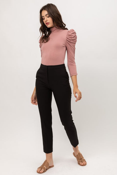 Melissa Mock Neck Puff Sleeve Bodysuit