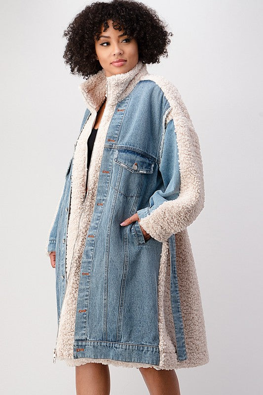 Denim Sherpa Coat