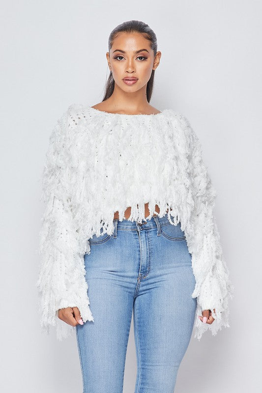 Fringe Blanco Sweater