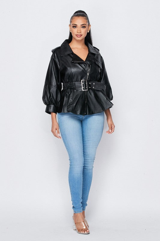 Marissa Leatherette Jacket