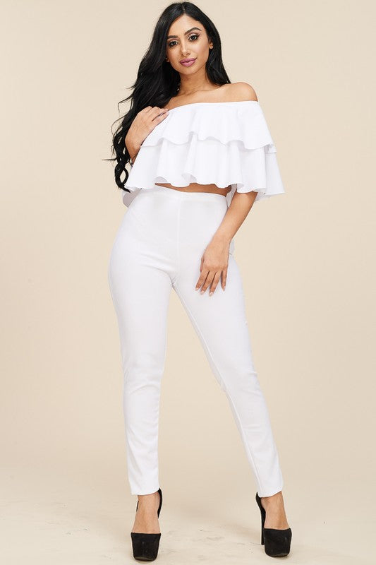 Miss Cali Ruffled Pants Set