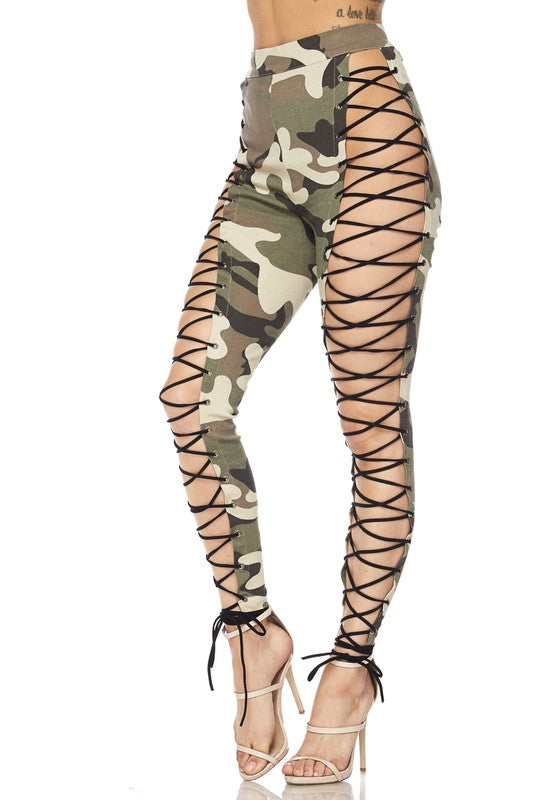 Camo Lace Up Pants