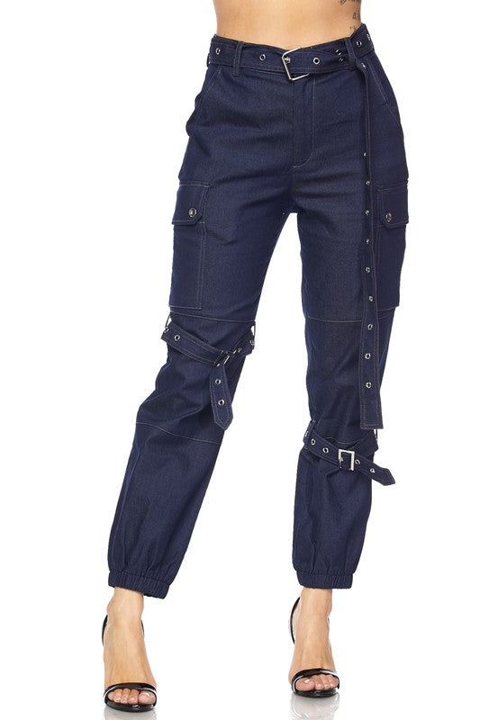 Meria Denim Cargo Pants