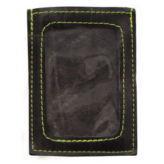 Bike tube card wallet with green stiching