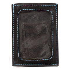 Bike tube card wallet with blue stiching