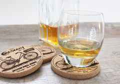Whiskey and bicycle coasters