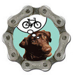 Upcycled Bike Chain Fridge Magnet - Dog