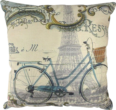 Pillow Cover: Paris by Bike