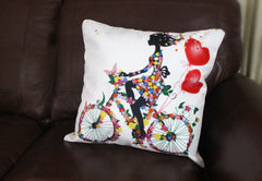 Bicycle throw pillow made of chenille