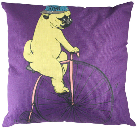 Pillow Cover: Pug Lover, Bike Lover