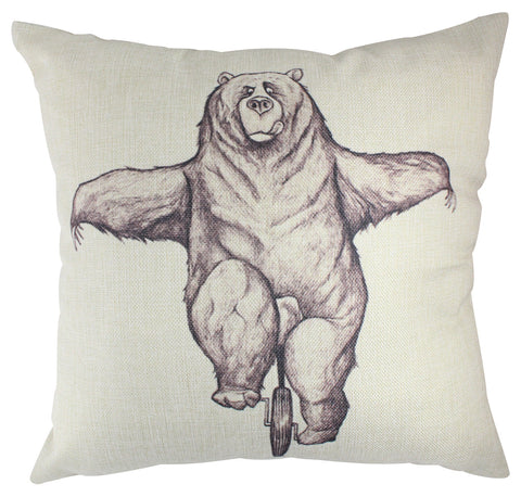 Pillow Cover: Bear on Unicycle