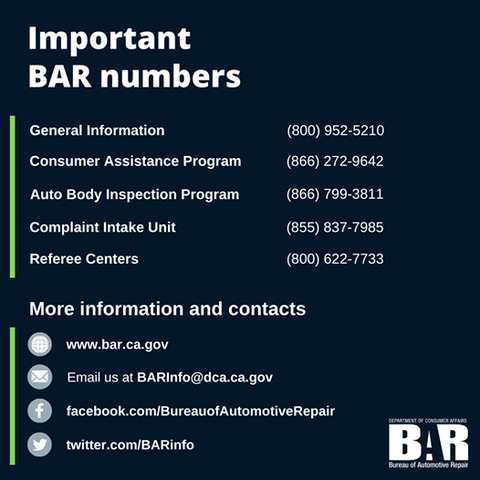 BAR INFORMATION BAR CONTACT NUMBERS CONSUMER ASSISTANCE BAR  REFEREE