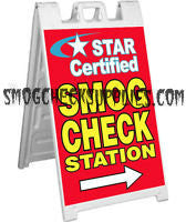 A-FRAME SIDEWALK SIGN, STAR CERTIFIED SMOG CHECK