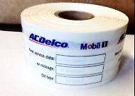 AC DELCO OIL CHANGE STICKER, STATIC CLING, 500 ROLL