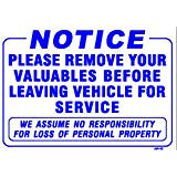 NOTICE-Please Remove Your Valuables Sign, AP-10