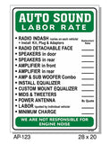 Auto Sound Labor Rate Sign, AP-123