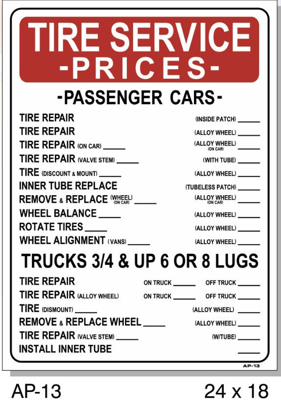 TIRE SERVICE PRICES SIGN