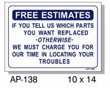 Free Estimates Sign, AP-138