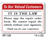 To Our Valued Customers Sign, AP-139