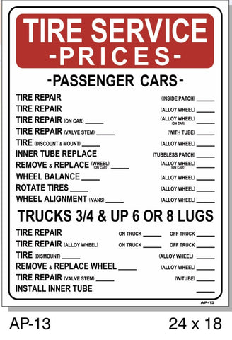 TIRE SERVICE PRICES SIGN AP-13