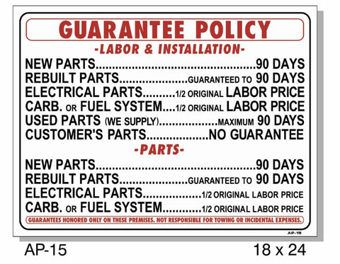 GUARANTEE POLICY SIGN AP-15