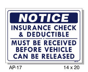 NOTICE INSURANCE CHECK SIGN AP-17