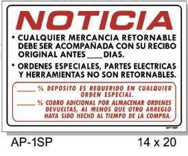 NOTICE/NOTICIA SIGN IN SPANISH AP-1SP