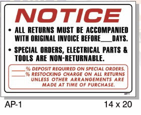 NOTICE ALL RETURNS MUST BE WITH ORIGINAL INVOICE AP-1