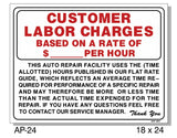 Customer Labor Charges Sign, AP-24
