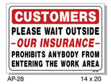 Customers Please Wait Outside Sign, AP-26