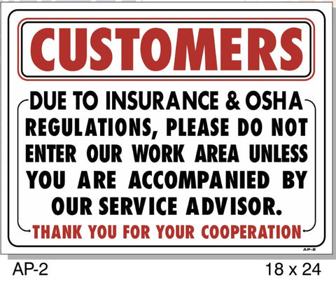 CUSTOMERS INSURANCE & OSHA SIGN AP-2