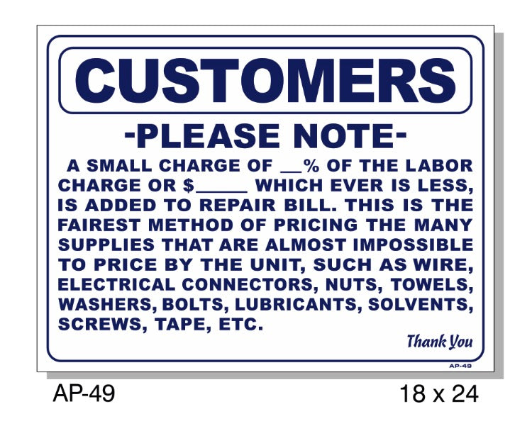 Customer Please Note Small Charge Sign, AP-49