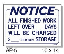 NOTICE STORAGE FEE CHARGED SIGN AP-5