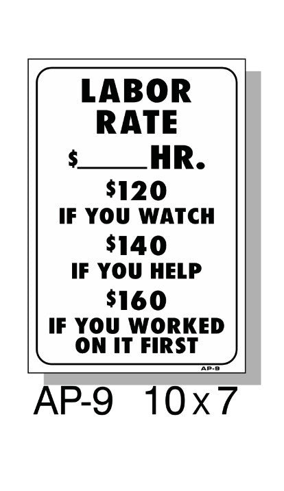 LABOR RATE SIGN