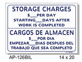 Bilingual Storage Charges $___ Per Day Sign, AP-126bil