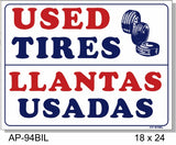 Used Tires In SPANISH Sign, AP-94bil