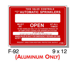 FIRE PROTECTION SIGN, VALVE CONTROLS AUTO SPRINKLERS, ALUMINUM