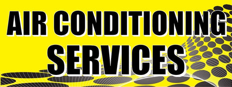 Air Conditioning Services | Yellow Gray Dots | Vinyl Banner