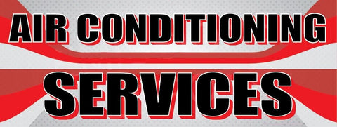 Air Conditioning Services | Red and Gray Lines | Vinyl Banner