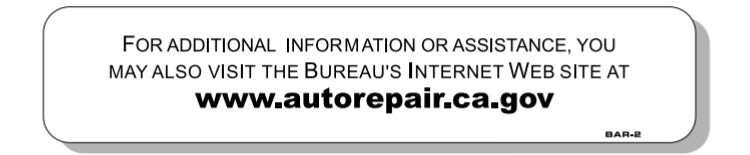 BUREAU OF AUTOMOTIVE SUPPLEMENTAL SIGN, REQUIRED