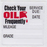 BLANK OIL CHANGE STICKER, STATIC CLING