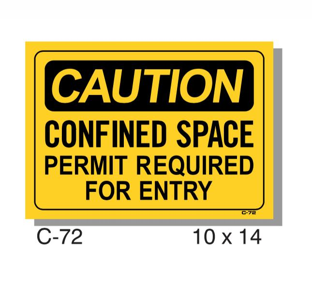 CAUTION SIGN, CONFINED SPACE PERMIT REQUIRED FOR ENTRY