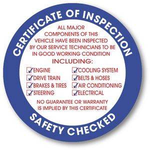 Certificate of Inspection Sticker (100 pack)