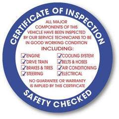 Certificate of Inspection Sticker
